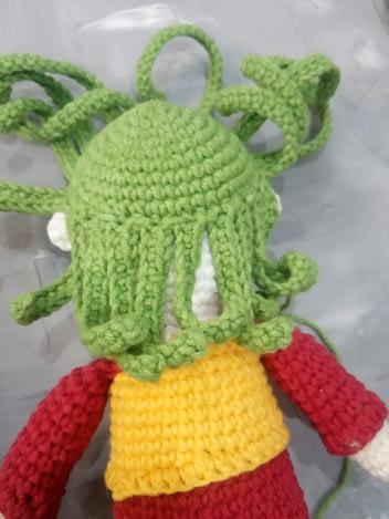 прическа волосы вязаной игрушки амигуруми