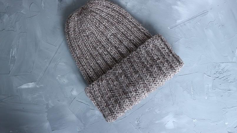 шапка бини спицами